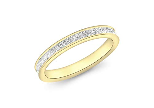 Carissima Gold 9ct Yellow Gold 2.5mm Stardust Ring - Size P