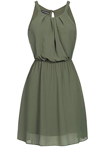 Styleboom Fashion® Damen Mini Chiffon Kleid 2-lagigSommerkleid Trägerkleid Military grün, Gr:L