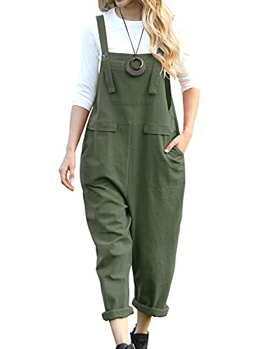 YESNO Women Long Casual Loose Bib Pants Overalls Baggy Rompers Jumpsuits with Pockets PV9 (L PV9 Dark Army Green)