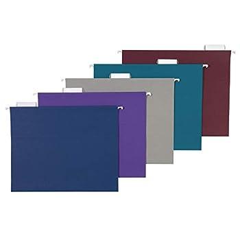Amazon Basics Hanging Folders Letter Size Jewel-Tone Colors  Assorted  25-Pack