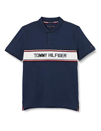 Tommy Hilfiger TH Intarsia Chest Polo S/s, Azul (Twilight Navy C87), 14 años (Talla del Fabricante: 14) para Niños