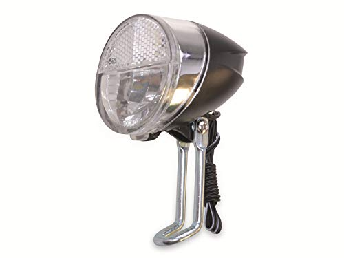 LED Front-Scheinwerfer 20 Lux - mit Helligkeitssensor, Reflektor & 3-Stufen Schalter - StVZO-zugelassen - Retro-Design - für alle Dynamo-Arten
