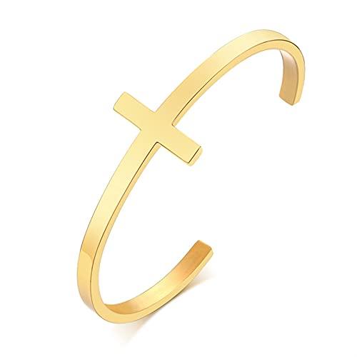 QASUF Pulsera de patrón Trenzado Personalizado Pulsera de Manguito Abierto Moda de Acero Inoxidable Oro Pulsera torcida Pulsera Joyería de Damas Estilo Minimalista (Metal Color : Cross Cuff Bangle)