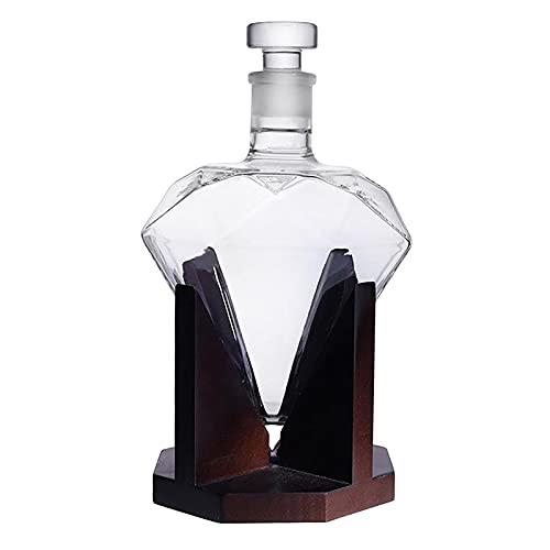 H HILABEE Decantador de vino de diamante de cristal en forma de de 750 ml, lujoso licor de vino, vino bourbon, dispensador de whisky, soporte para