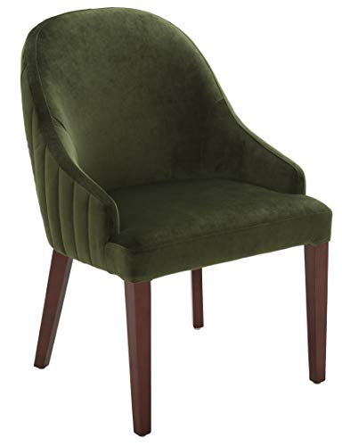 """Amazon Brand – Rivet Contemporary Curved Channel-Back Dining Chair, 35""""H, Forest"""
