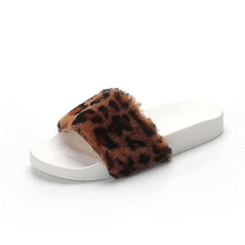 xinghui Chanclas para Mujer Zapatillas de Maohui con Fondo Grueso sin Fondo-Leopardo_39