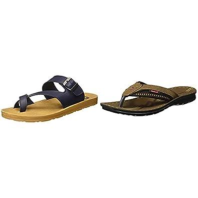 Walkaroo Men's Faux Leather Blue Outdoor Sandals (13339)