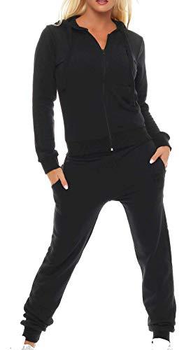 Gennadi Hoppe Damen Jogginganzug Trainingsanzug Sportanzug, schwarz,L