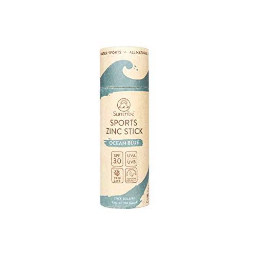 Stick Solare di Zinco FPS 30 Suntribe - Biodegradabile - Filtro UV Minerale (Ossido di Zinco) - 4 Ingredienti - BLU OCEANO (30 g)