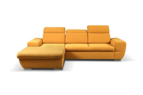 mb-moebel Ecksofa Eckcouch mit Bettkästen mit Schlaffunktion Soft Couch Wohnlandschaft L-Form Polsterecke Fresno GELB (Ecksofa Links)