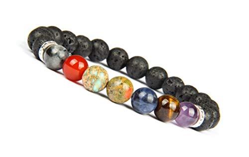 Good.Designs ® Sieben Chakra Perlenarmband aus echten Natursteinen (Silber) Energiearmband für Damen + Herren mit bunten Perlen Lavaperlen Perlenarmband Chakraarmband Chakraschmuck