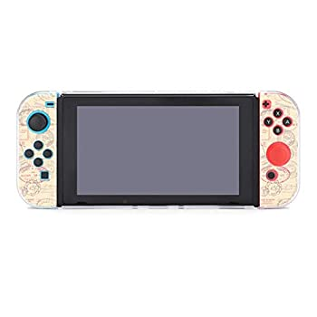 Seamlessly Tiling Postage Themed Pattern with Vintage Stamps Dockable Protective Case Cover for Nintendo Switch Compatible with Nintendo Switch Console and Joy-Con Controller