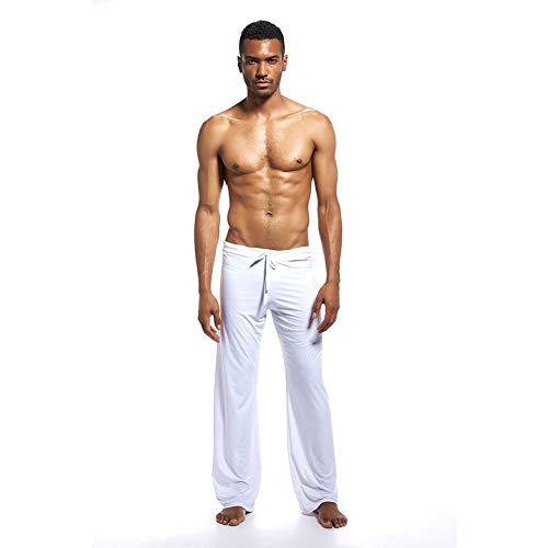 CVBN Pantalones caseros para Hombres N2N, Ropa de Yoga, Pantalones, Tela de Seda, hogar, Sexy PS504, Blanco, S