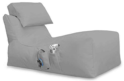 Lying Beanbag Gaming Sitzsack ohne Hocker, für XBOX360, XboxOne, PS4, Nintendo Switch, Smartphone, Nintendo DS, Made in Germany, mit Seiten Tasche (Grau, 116 x 60 x 60 cm)
