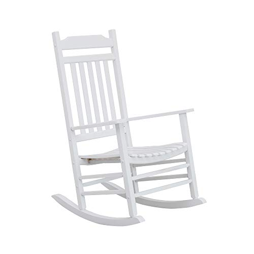 B&Z KD-30W Wooden Rocking Chair Vermont Porch Rocker Outdoor Classic White