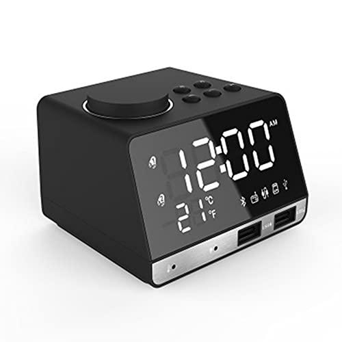 LG&S Termostato Interior Altavoz Bluetooth FM Radio Dual USB Estación De Carga Manos Llamada Telefónica Gratuita Reloj De Alarma Digital Soporte TF Tarjeta Play Y Unidad Flash USB,Negro