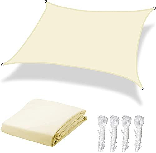 Dulcicasa Toldo 3 x 4 m, protección solar rectangular, toldo parasol para balcón, protección contra la intemperie, impermeable, 90% de protección UV para jardín, balcón, terraza