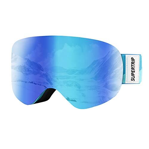 Supertrip Skibrille Kinder Snowboardbrille Kinderskibrille Schneebrille Verspiegelt Doppel-Objektiv brillenträger UV-Schutz Anti-Fog für Jungen Mädchen Alter 7-13 Snowboarden(Grey Revo Blau (VLT 25%))
