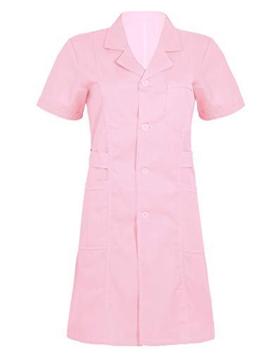Freebily Uniforme Sanitario Mujer Blanco/Rosa/Azul Talla Grande Disfraz de Enfermera Casaca Bata Laboral de Trabajo Veterinaria Hostelería Rosa Small