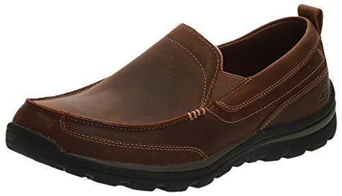 Skechers - Mocasines de cuero para hombre marrón marrón oscuro, Dark Brown, 30 EU