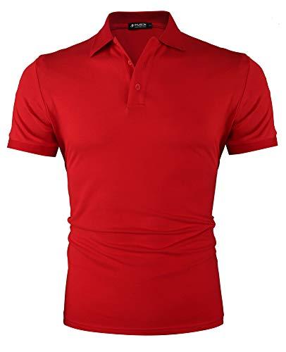 Kusonn Hommes Polos Shirts Sport Respirant Couleur Unie Manches Courtes T-Shirt Rouge L