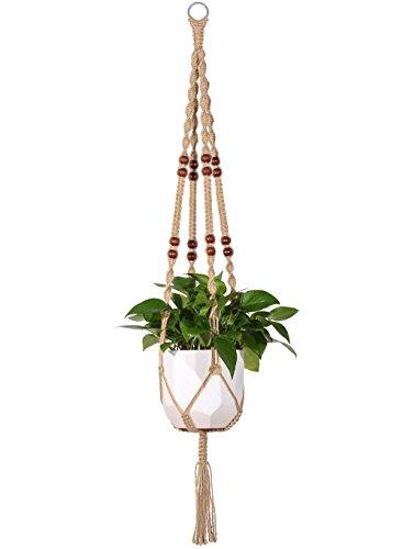Mkono – Maceta colgante de macramé, algodón, con cuentas, para interiores y exteriores, 4patas, 101,6cm