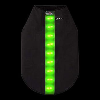 Grand Vert Veste de Sécurité avec Bandes Réfléchissantes LED pour Chiens Safe Gilet de Sécurité LED Blouson Chien Gilet de Haute Visibilité Veste Impermeable Chien Gilet LED Clignotant