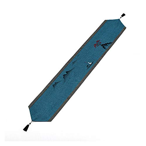 NGLQWA Pintado A Mano Impermeable De Mesa De Comedor Estampados En Caliente con Borla De Satén Camino De Mesa para Comedor De Decoración (Color : A, Size : 14 * 83inch)
