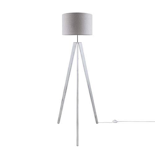 Paco Home Luminaria De Pie De Mesa Pata Vintage LED Salón Estilo Escandinavo E27, Base de la lámpara:Lámpara de piso blanca + Bombilla, Pantalla de lámpara:Gris (Ø45.5 cm)