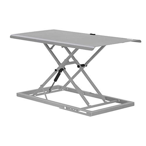 HEWEI Computer werkstations staande bureau zittend hoogte verstelbare bureau kantoor opklapbare werkbank tillen laptop tafel licht en draagbare kan dragen 5 kg (kleur: zilver grootte: 2.4