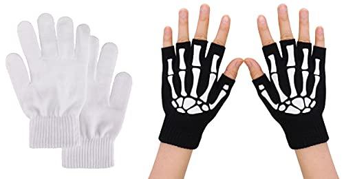Men/Women White Full Gloves / Skeleton Fingerless Gloves