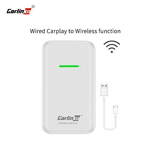Carlinkit Wireless CarPlay Adapter 2020 für Audi Volvo Porsche Volkswagen DS7 Hyundai Werksautos, Plug & Play, iOS 13, USB Typ A/C, Konvertieren von Wired in Wireless Carplay, weiß