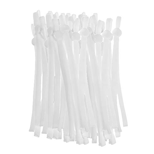 Genenic 50PCS White Elastic String for Sewing, 1/4 inch Elastic Bands with Adjustable Buckle, Elastic Ear Loops for DIY Handmade Making