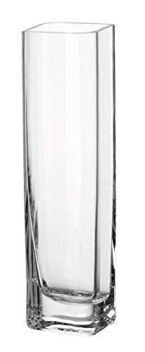 Leonardo Kasten-Vase Lucca, moderne Blumenvase, handgefertigtes Unikat in rechteckiger Form aus Glas, H 30 x B 8-cm, 014382