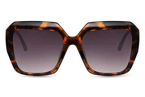 Cheapass Sunglasses - Gafas de sol de gran tamaño, cuadradas, con bordes gruesos, leopardo con lentes degradados morados, protección UV400, elegancia moderna para mujer
