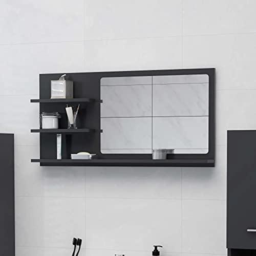 vidaXL Badspiegel mit 3 Ablagen Spiegelregal Wandspiegel Badezimmerspiegel Bad Spiegel Badezimmer Badmöbel Grau 90x10,5x45cm Spanplatte