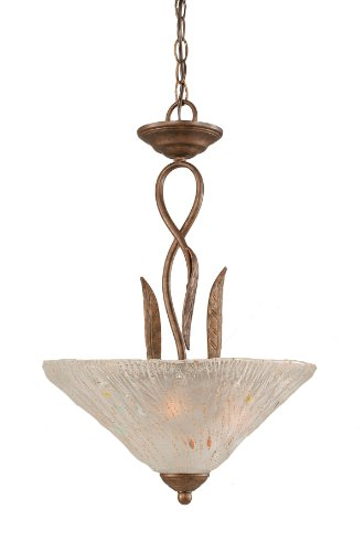 Toltec Lighting 214-BRZ-711 Leaf Three-Bulb Uplight Pendant Bronze Finish with Frosted Crystal Glass Shade, 16-Inch