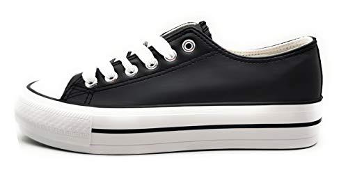 Zapatillas Blanca Negra Mujer con Plataforma Polipiel Zapatillas Suela Doble Zapatillas Bambas Deportivas Plataforma Mujer (Negro, Numeric_36)