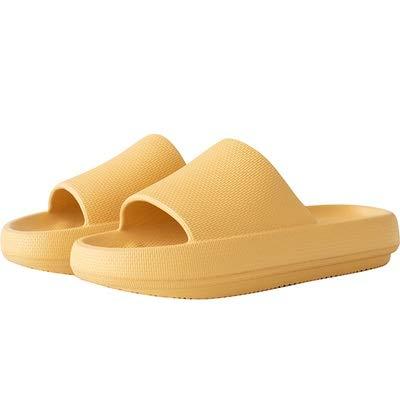 treseds Toboganes de Almohada, Sandalias de Ducha Unisex con Suela Gruesa, Sandalias Antideslizantes engrosadas de Secado rápido para casa en Interiores y Exteriores (Color : Yellow, Shoe Size : 45)