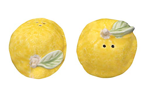Creative Co-op Yellow Stoneware Lemon Shaped (2 Pieces) Salt & Pepper Shakers