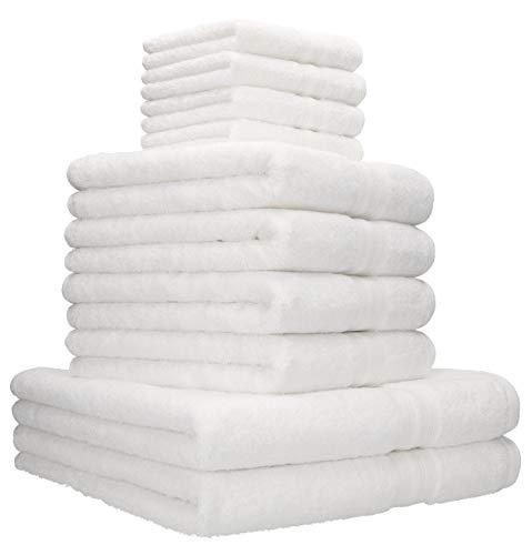 Betz Lot de 10 Serviettes Set de 2 Serviettes, draps de Bain 4 Serviettes de Toilette 4 lavettes qualité 600 g/m² 100% Coton Gold Couleur Blanc