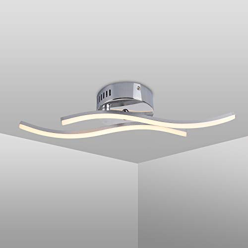 Plafonnier LED Design Moderne, Luminaire Plafonnier en Forme de Vague, 3000k Blanc Chaud LED intégrées 12W 1100lm, Lustre Moderne Pour le Salon Chambre Salle à Manger (Blanc chaud, 2 panneaux LED)
