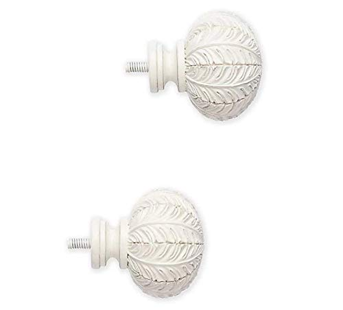 Cambria Classic Set of 2 Finials for Curtain Rods and Window Treatments Leaf Design Satin White