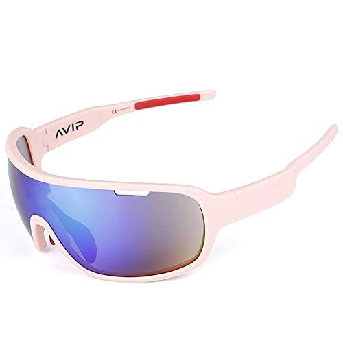 Mifty Gafas De Sol DeportivasHombres Y Mujeres, Gafas De Sol Deportivas con Lentes De Espejo, Gafas De Sol para Ciclismo, Carrera, Triatlón, Voleibol De Playa Y Senderismo (Color : Pink)