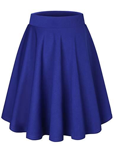 Bridesmay Falda Mujer Plisada Verano Corto Casual Mini Multifuncional De Poliéster Plegado Patinador para la Escuela, la Oficina, Las Fechas y Las Fiesta Midi-Royal-Blue S