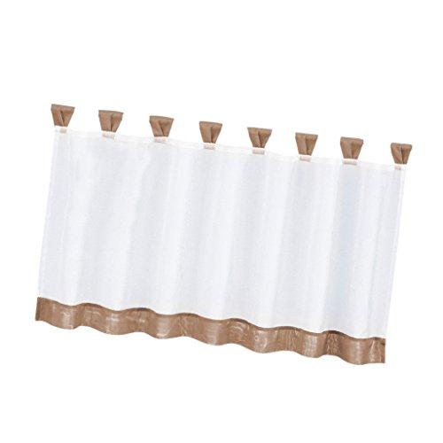 joyMerit Tenda da caffè per Tutte Le Dimensioni Personalizza Il Livello della Tenda della Cucina - Voile Trasparente per Mantovana per L'arredamento Chic di Be - # 1 35x18 Pollici, Marrone