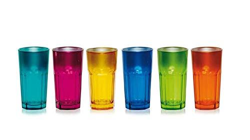 WAK 6er Set Kaffeebecher 380ml in tollen Farben für Ihr liebstes Heißgetränk für Kaffee, Cappuccino und Latte Macchiato (Bunt)