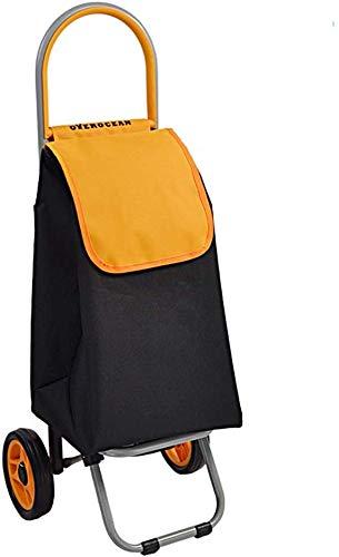 Yuany Einkaufstrolley,Ältere Senioren Leichter Einkaufswagen Treppensteigwagen Mit Leisem Gummi Zwei Lenkräder Multifunktionale Kleine Abnehmbare Einkaufstasche, Nur 1,5 kg (Farbe: Orange)