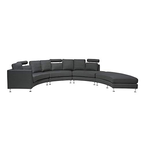 Beliani Modern Curved Sectional Sofa with Ottoman and Headrests Dark Grey Fabric Rotunde