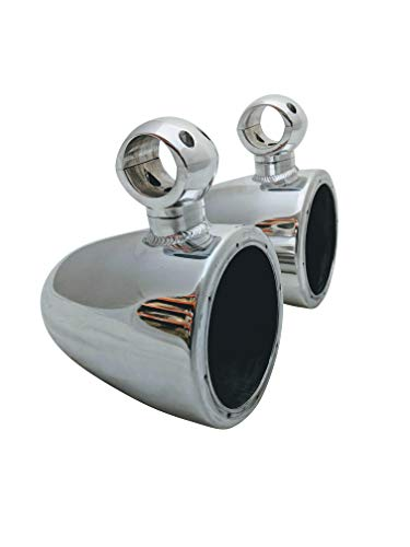 6.5' Wakeboard Tower Speaker Cans, 2 x 6.5 Tower Speaker Pods, 2 x Clamps, Wires Go Through Clamps. - Polished